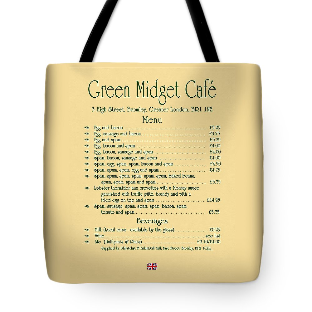 1970s Tote Bag featuring the digital art Green Midget Cafe Menu Parchment by Robert J Sadler