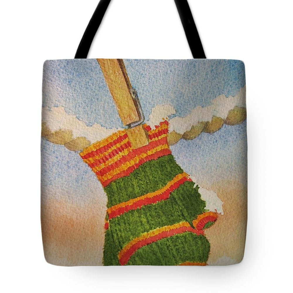 Children Tote Bag featuring the painting Green Mittens by Mary Ellen Mueller Legault