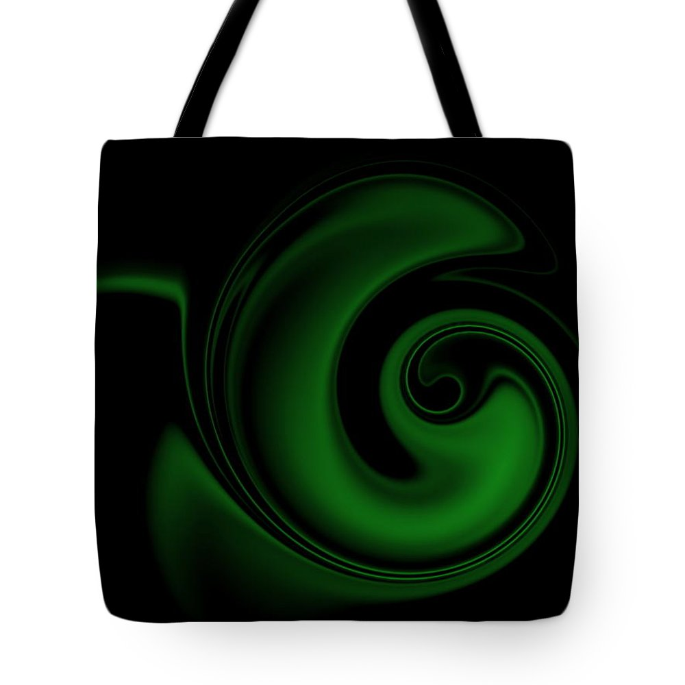 Swirl Tote Bag featuring the digital art Green On Black 1 by Ron Hedges