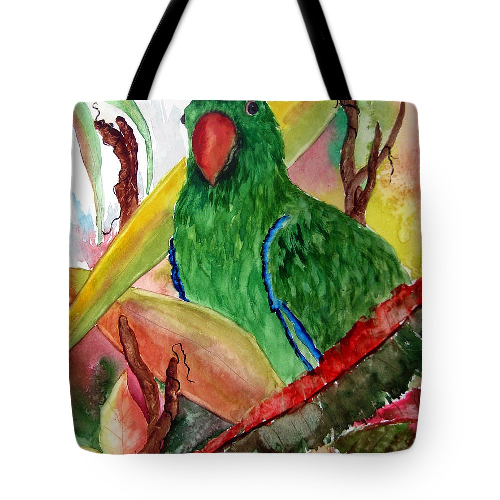 Bird Flower Tote Bag featuring the painting Green Parrot by Lil Taylor