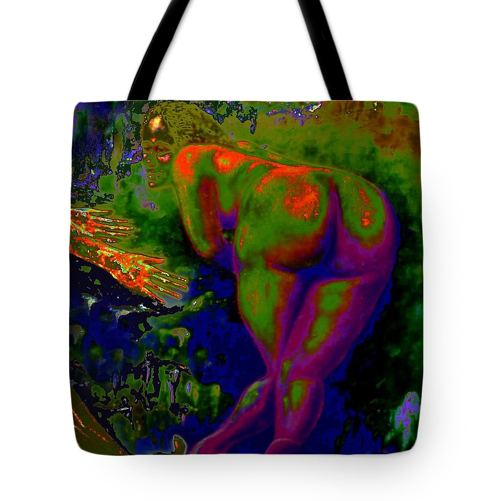 Genio Tote Bag featuring the mixed media Green Pleasure Of Mutual Happiness by Genio GgXpress