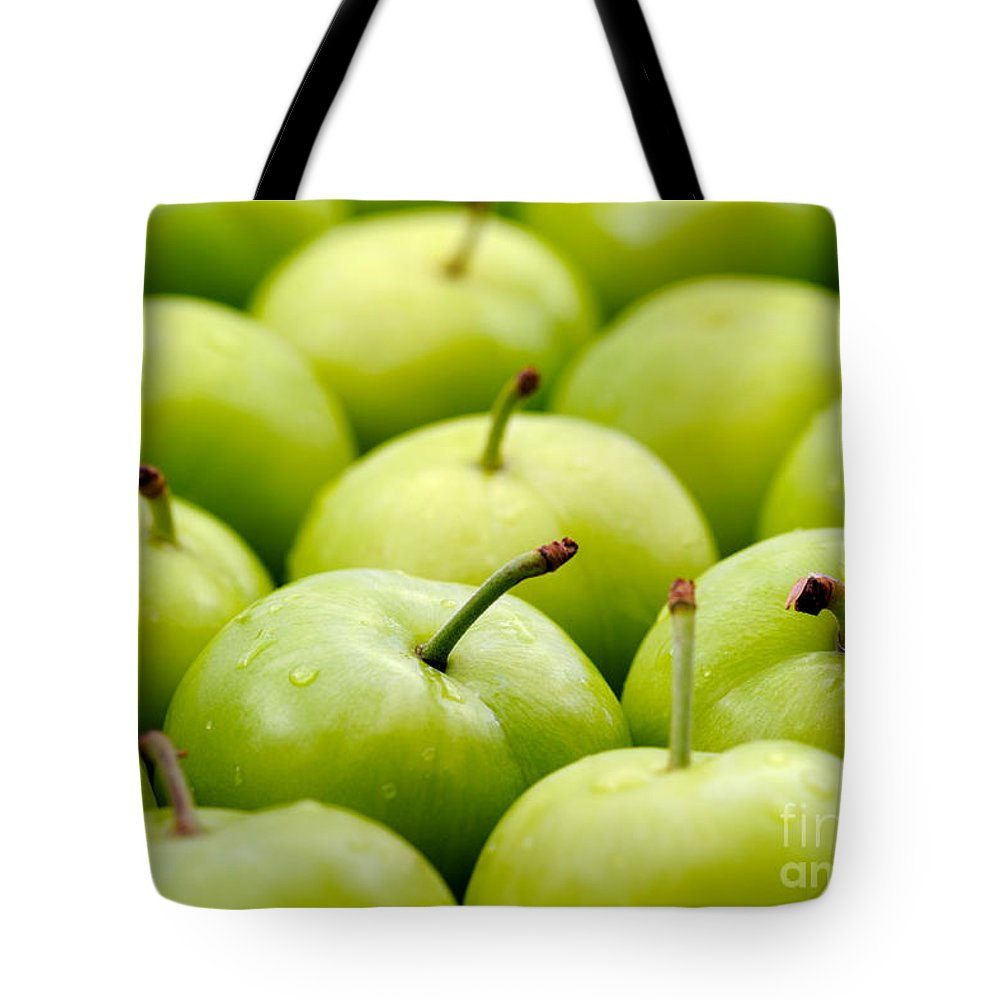 Plum Tote Bag featuring the photograph Green Plums by Grigorios Moraitis