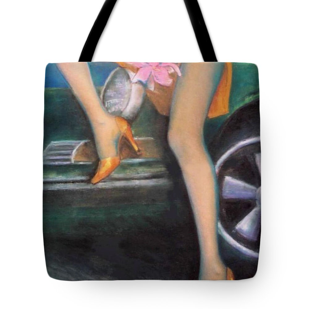 Sensual Tote Bag featuring the pastel Green Porsche by Mary Ann Leitch