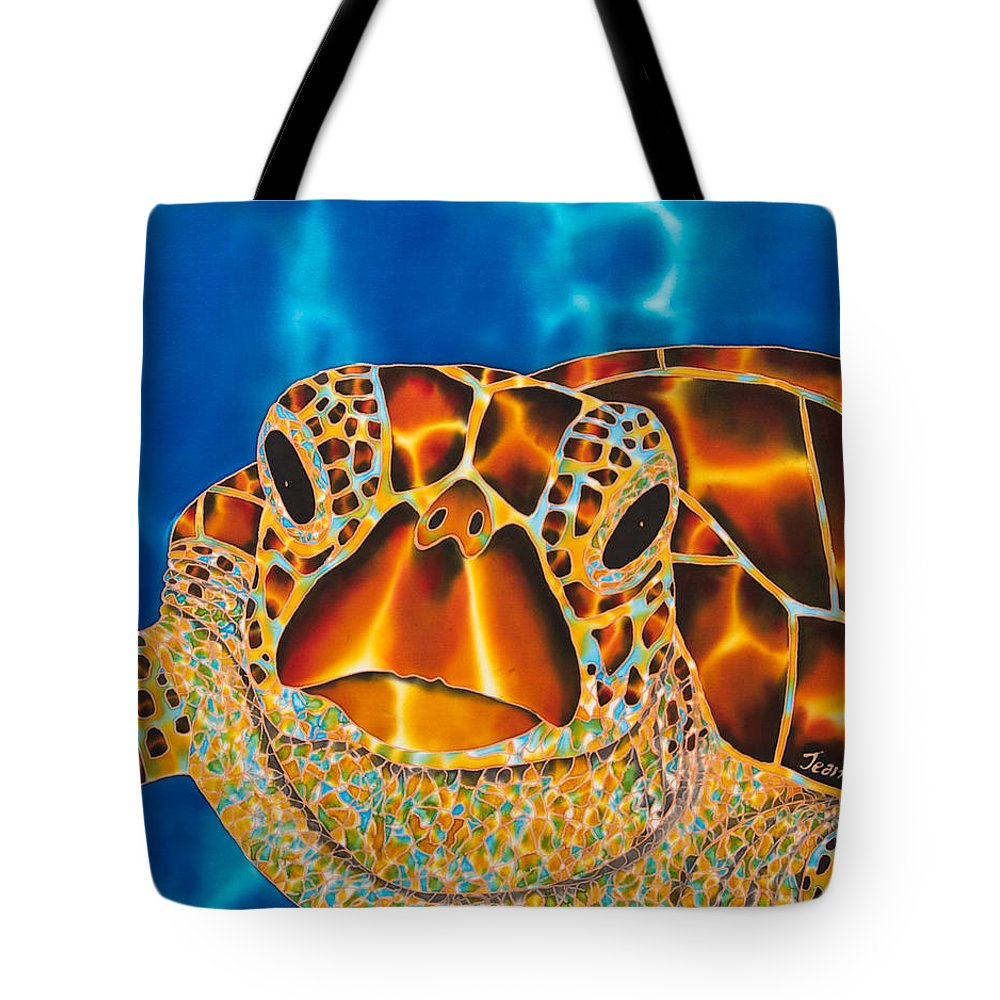 Marine Turtle Tote Bag featuring the painting Green Sea Turtle by Daniel Jean-Baptiste