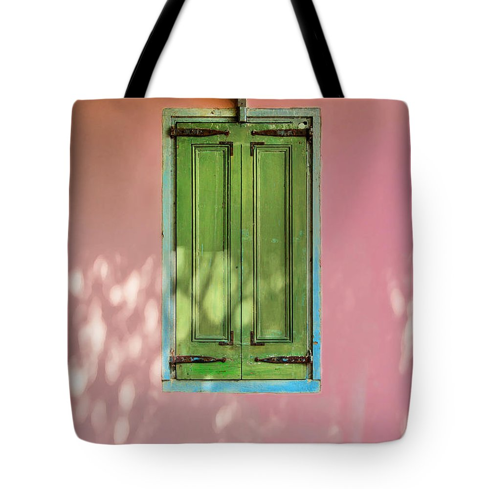 St. Augustine Tote Bag featuring the photograph Green Shutters Pink Stucco Wall by Rich Franco