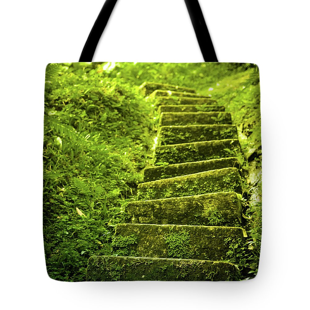 Tropical Rainforest Tote Bag featuring the photograph Green Stair by Pixalot