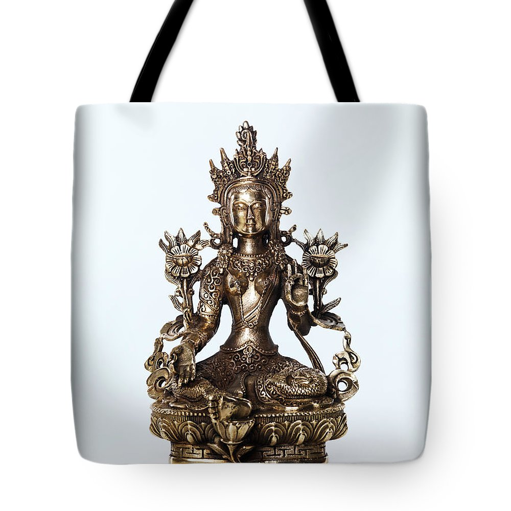 Tara Tote Bag featuring the photograph Green Tara Goddess Statue by Oleksiy Maksymenko