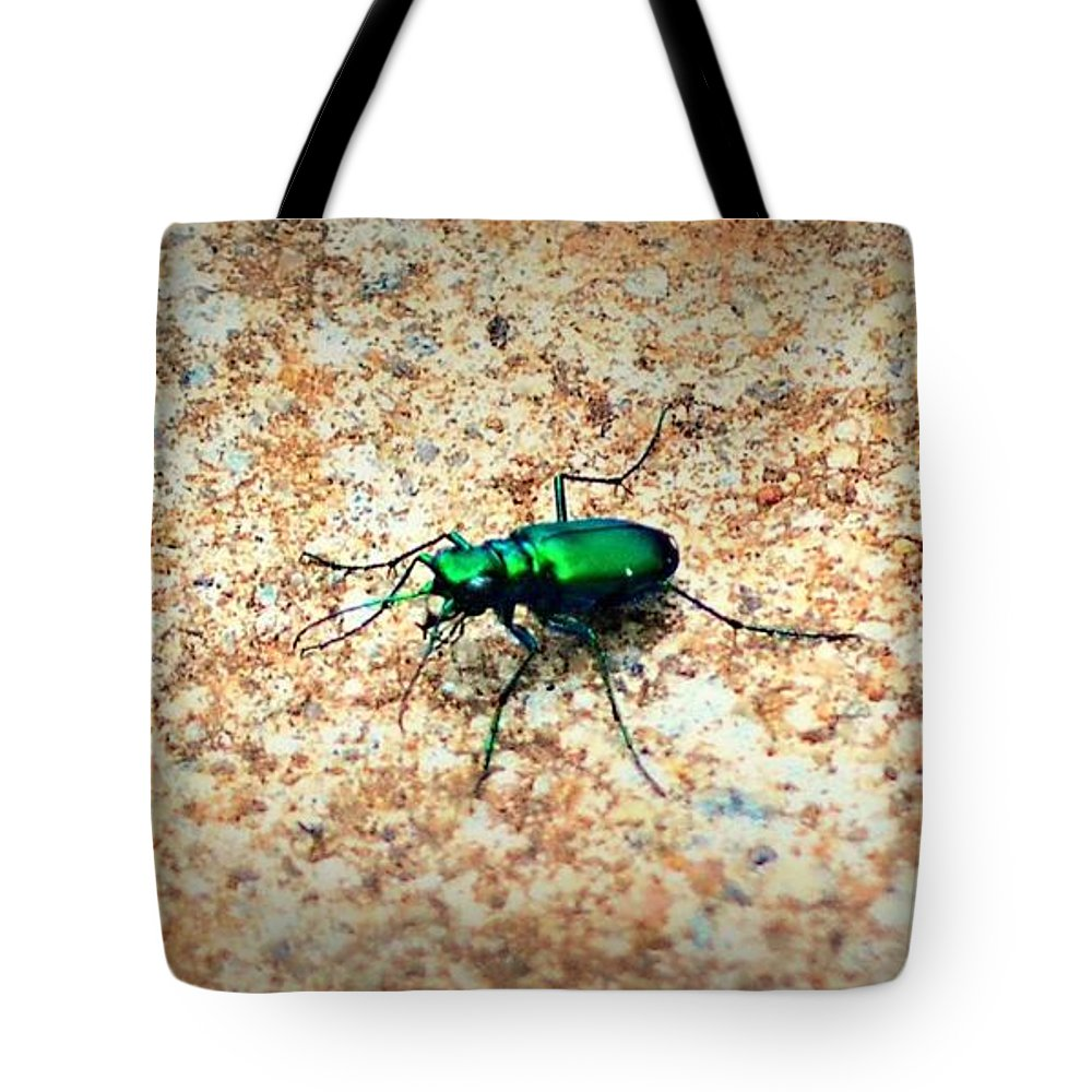 Green Tote Bag featuring the photograph Green Tiger Beetle by Tara Potts