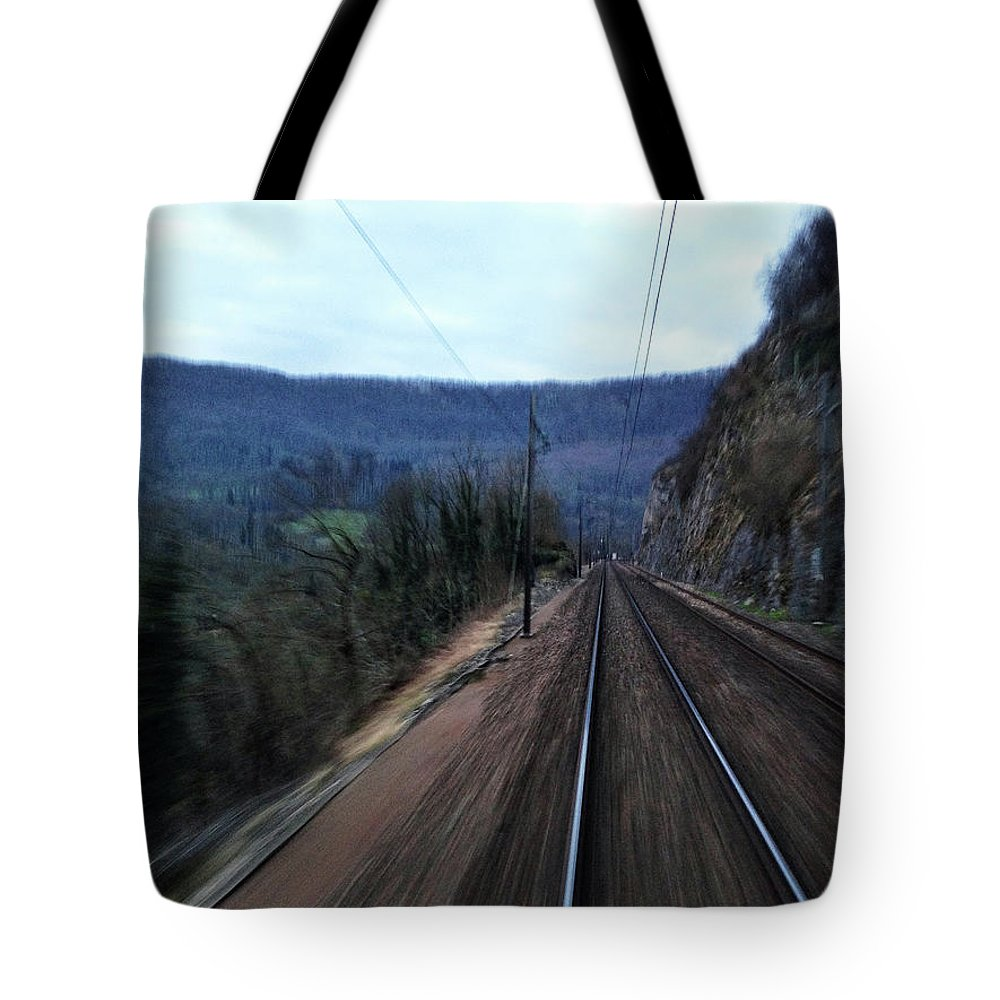 Railroad Track Tote Bag featuring the photograph Green Travel by Lazypixel / Brunner Sébastien