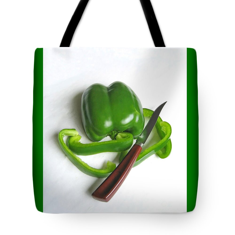 Food Tote Bag featuring the photograph Green Veggie Munchie by Ann Horn