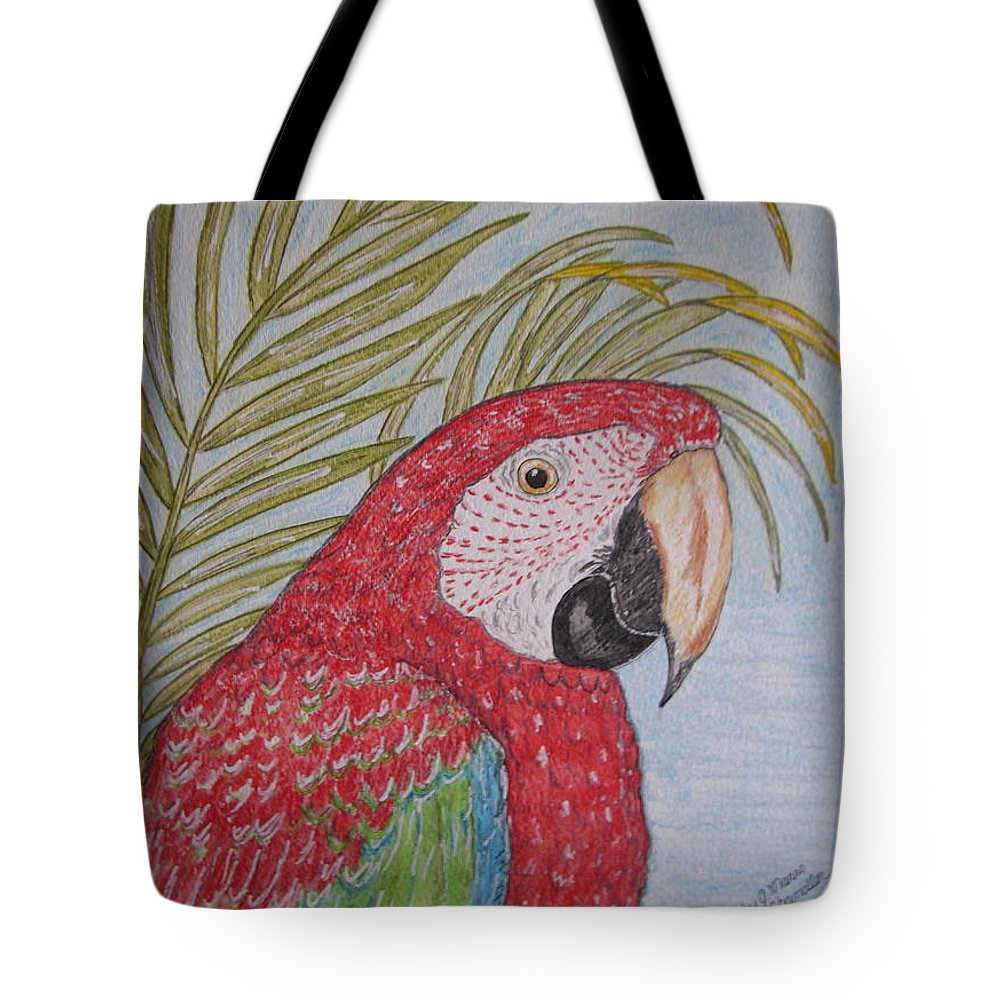 Green Wing Macaw Tote Bag featuring the painting Green Winged Macaw by Kathy Marrs Chandler
