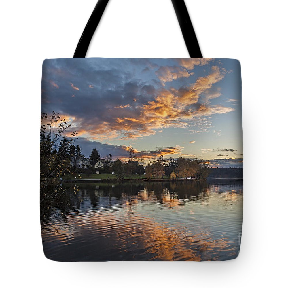 Greenlake Tote Bag featuring the photograph Greenlake Autumn Sunset by Mike Reid