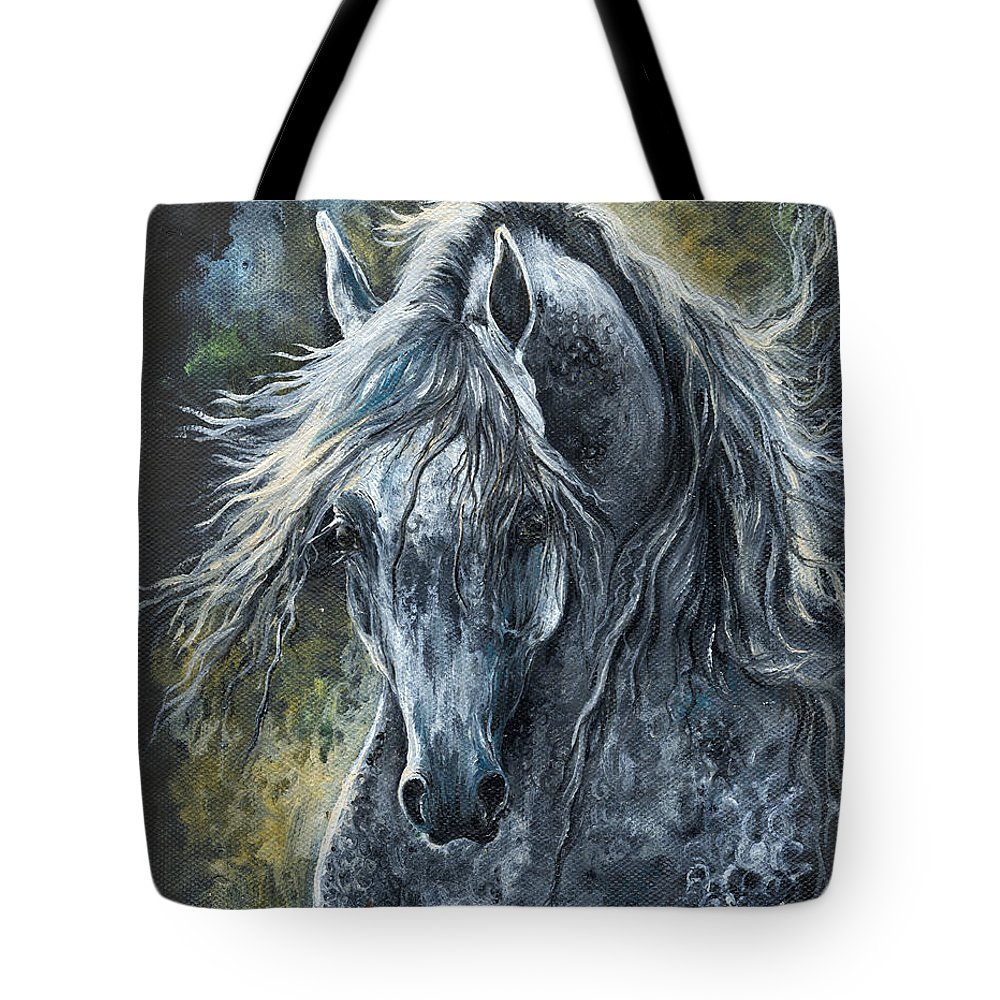 Horse Tote Bag featuring the painting Grey Arabian Horse Oil Painting 2 by Angel Ciesniarska