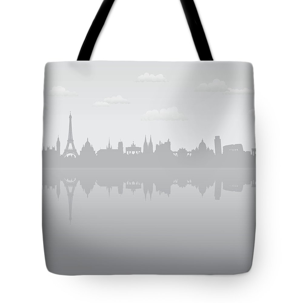 Clock Tower Tote Bag featuring the digital art Grey Europe by Leontura