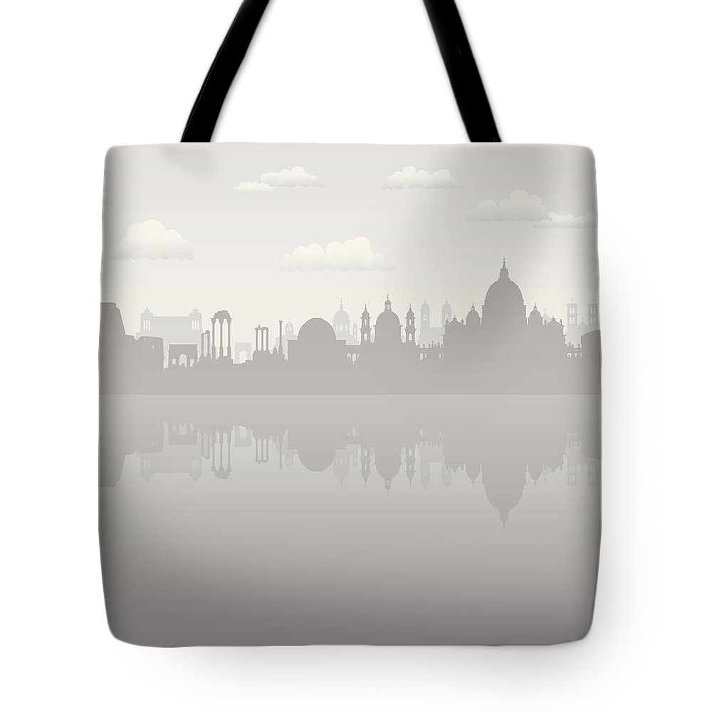 Arch Tote Bag featuring the digital art Grey Rome by Leontura