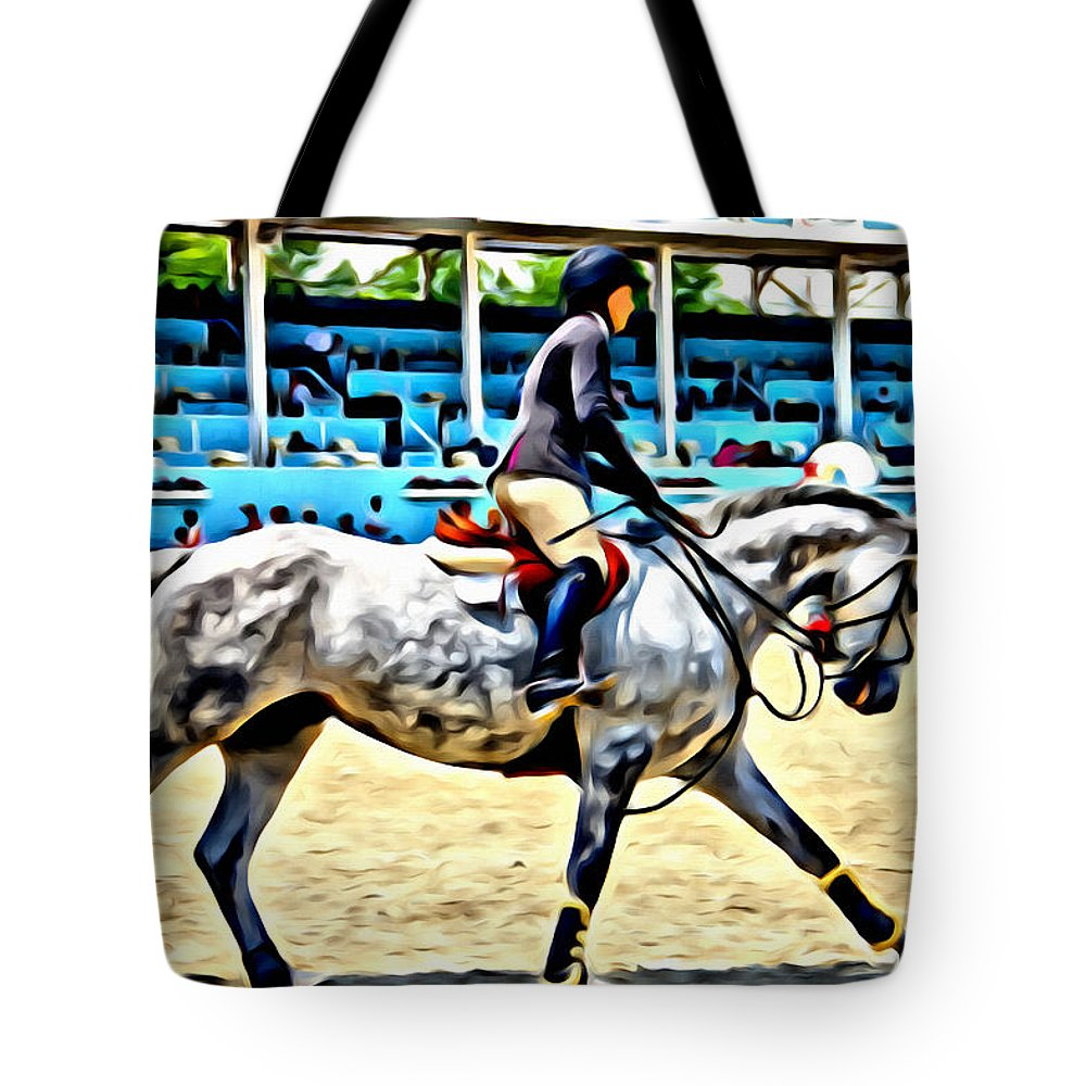 Horse Tote Bag featuring the photograph Grey Set Up by Alice Gipson