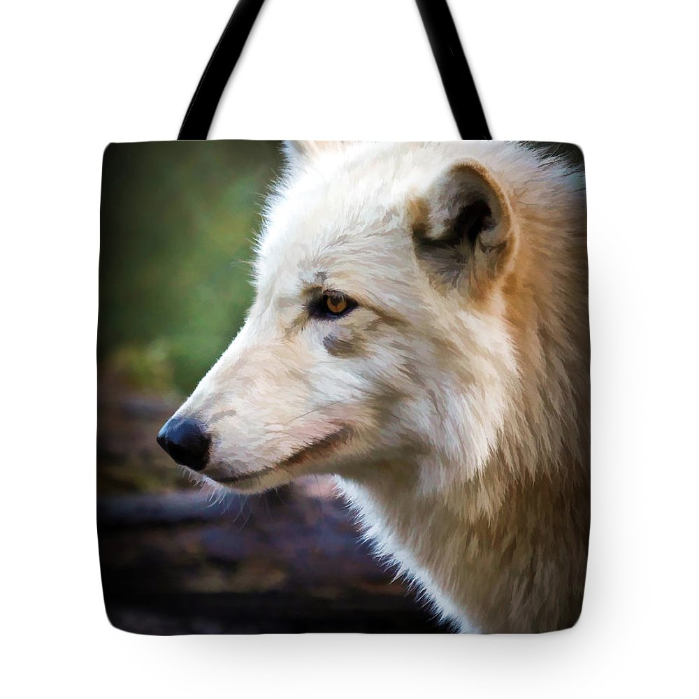 Wolves Tote Bag featuring the photograph Grey Wolf Painting by Athena Mckinzie
