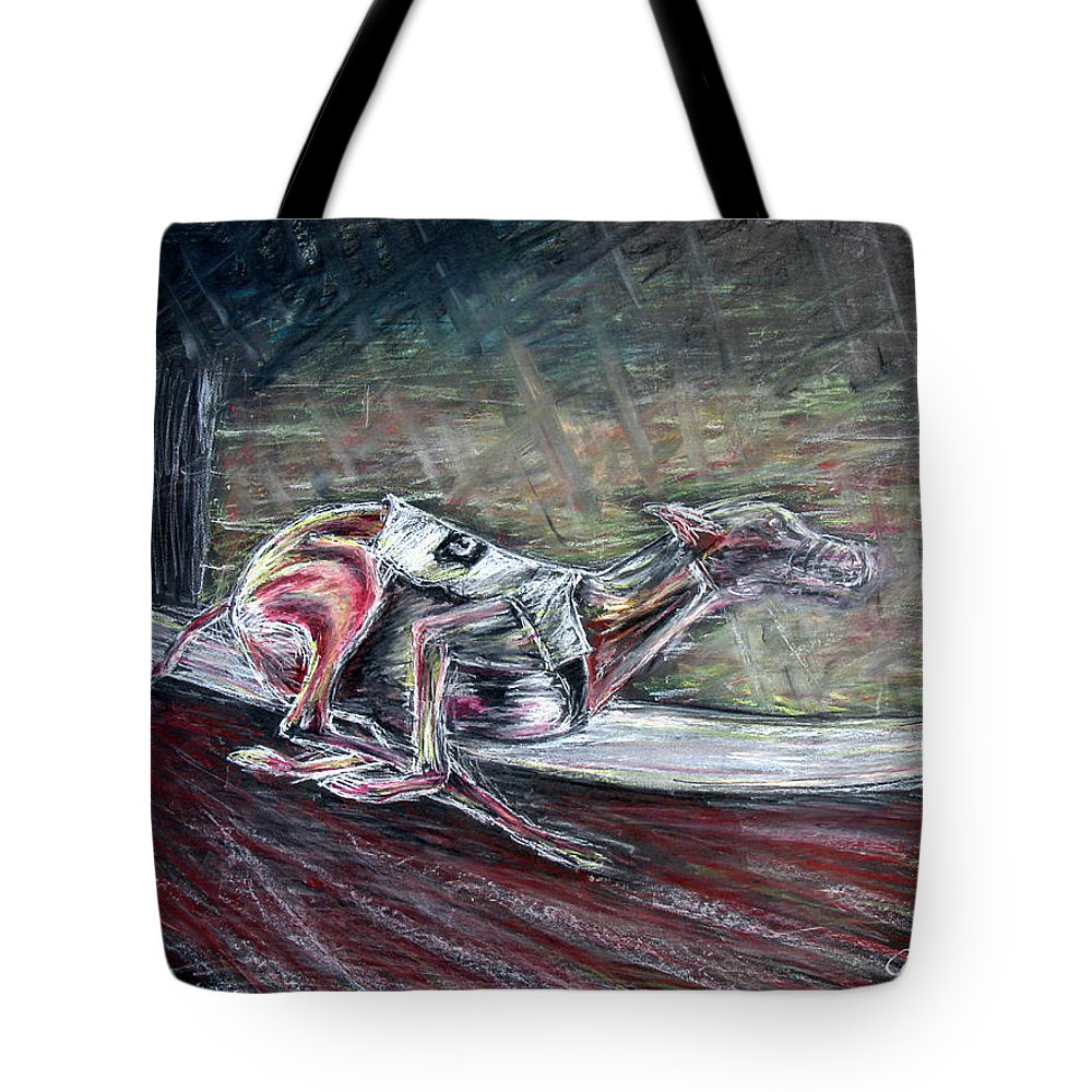 Dog Tote Bag featuring the drawing Greyhound Number Three by Tom Conway