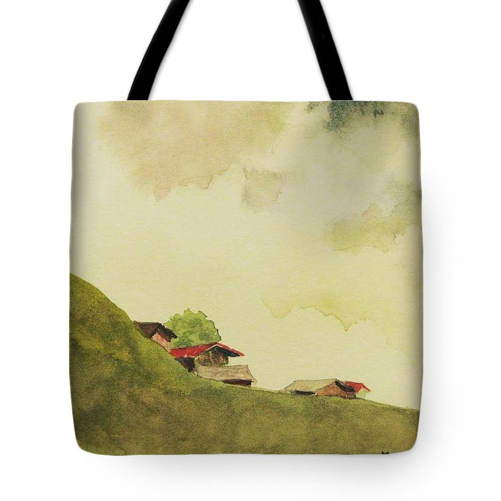 Swiss Tote Bag featuring the painting Grindelwald Dobie Inspired by Mary Ellen Mueller Legault