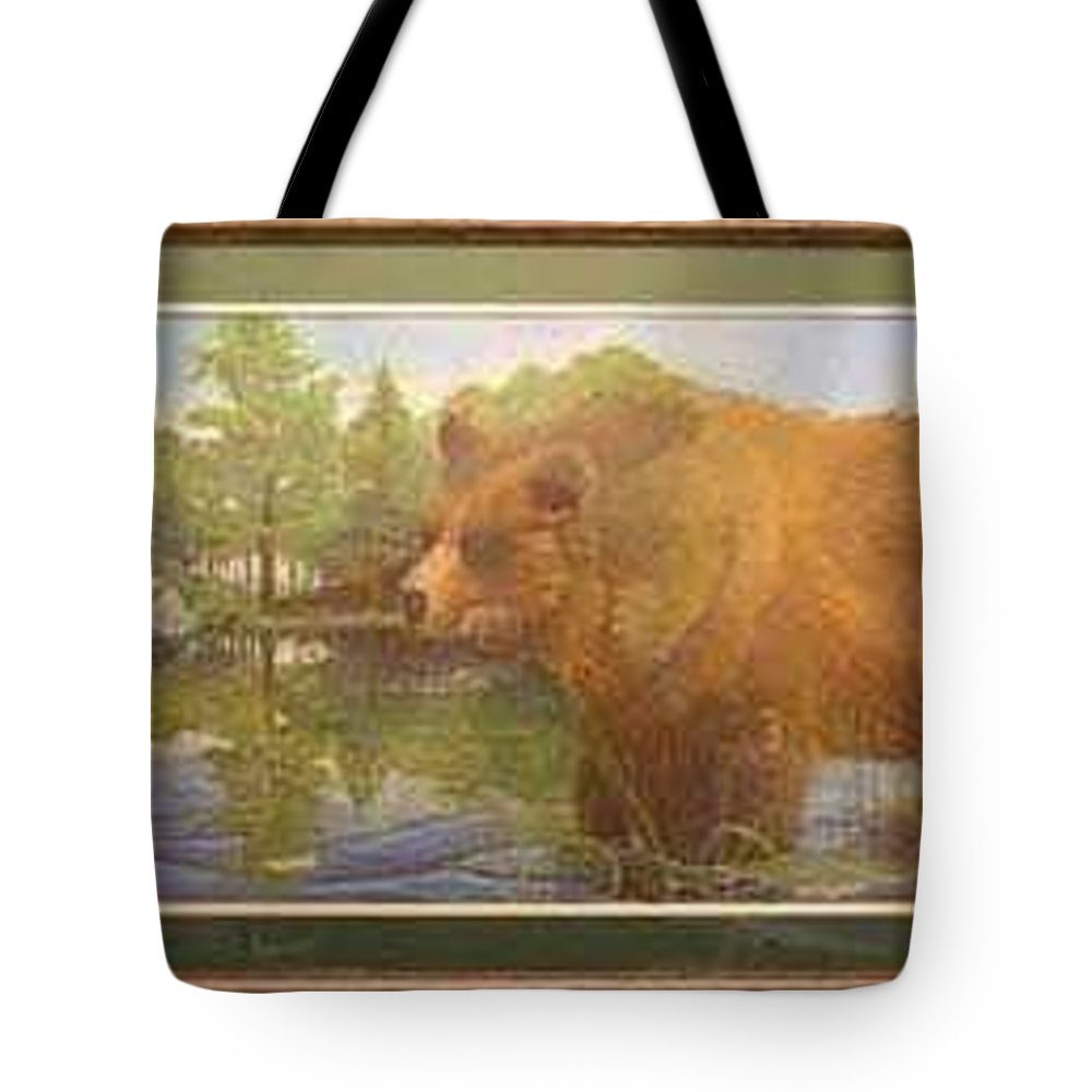 Rick Huotari Tote Bag featuring the painting Grizzly by Rick Huotari