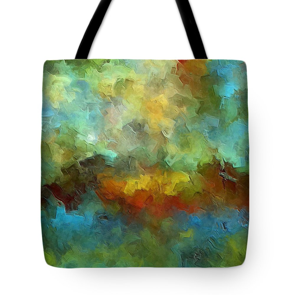 Abstract Art Tote Bag featuring the painting Grotto by Ely Arsha