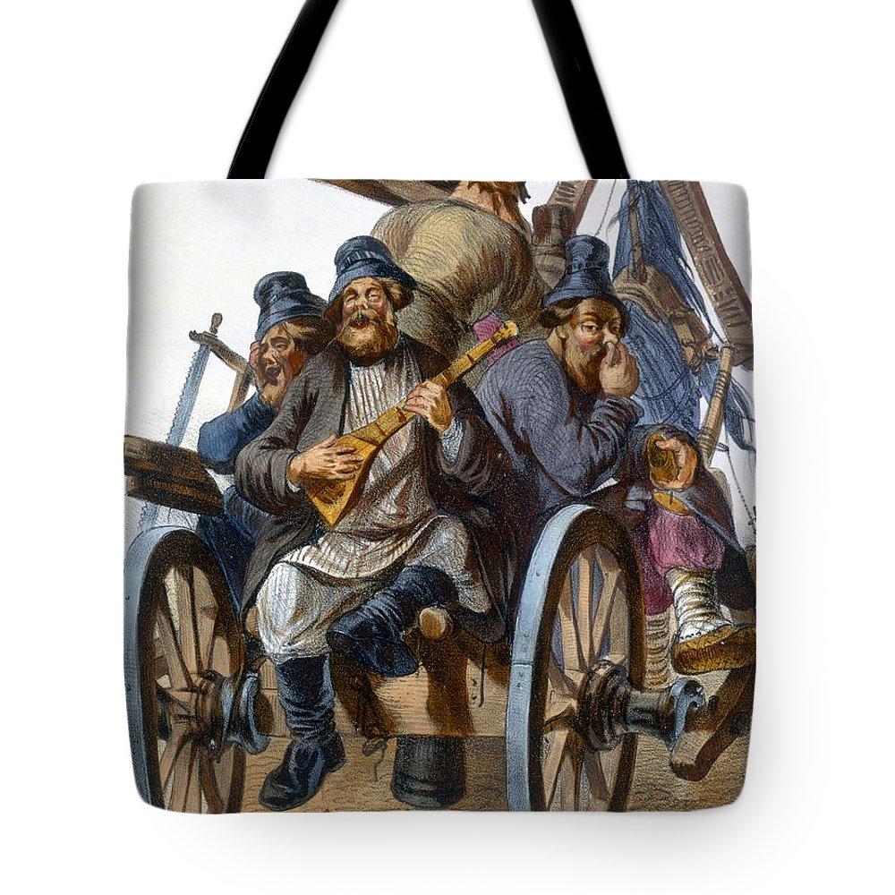Illustration Tote Bag featuring the drawing Group Of Drunken Peasant Men Singing by Rudolf Jukowsky