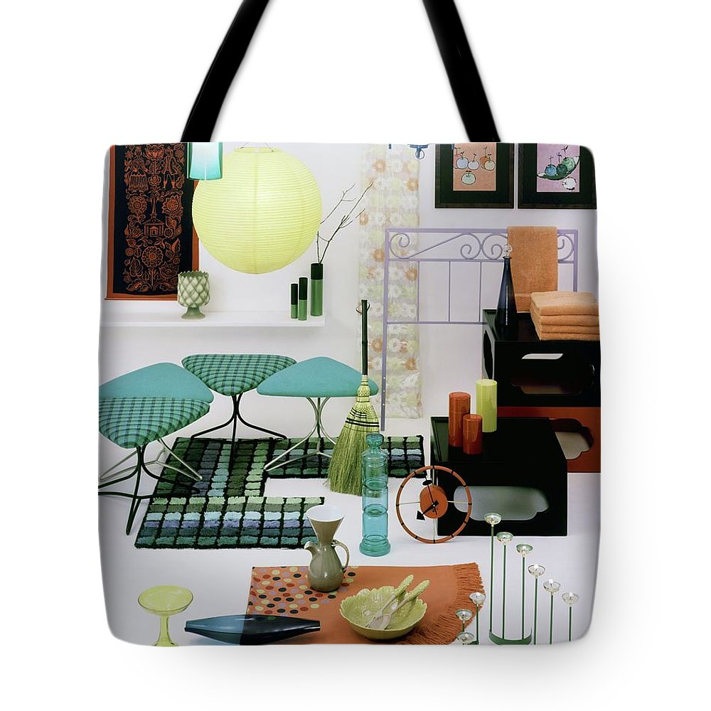 Home Tote Bag featuring the photograph Group Of Furniture And Decorations In 1960 Colors by Tom Yee