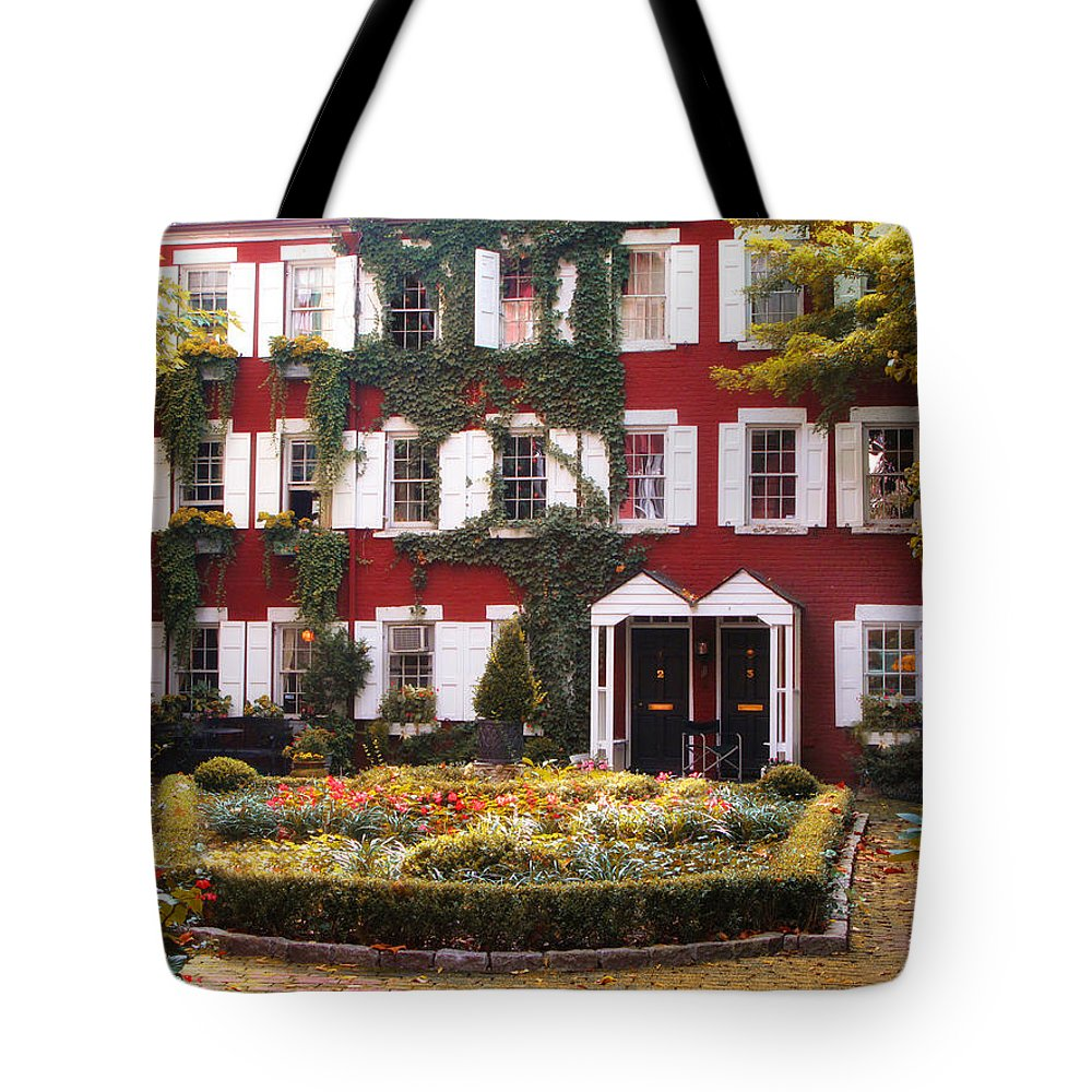 Grove Street Tote Bag featuring the photograph Grove Court Charm by Jessica Jenney