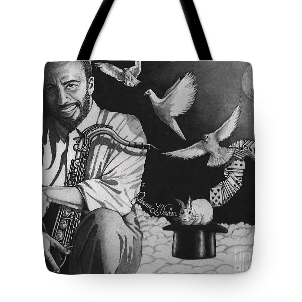 Watercolor Tote Bag featuring the painting Grover Washington Jr by JL Vaden