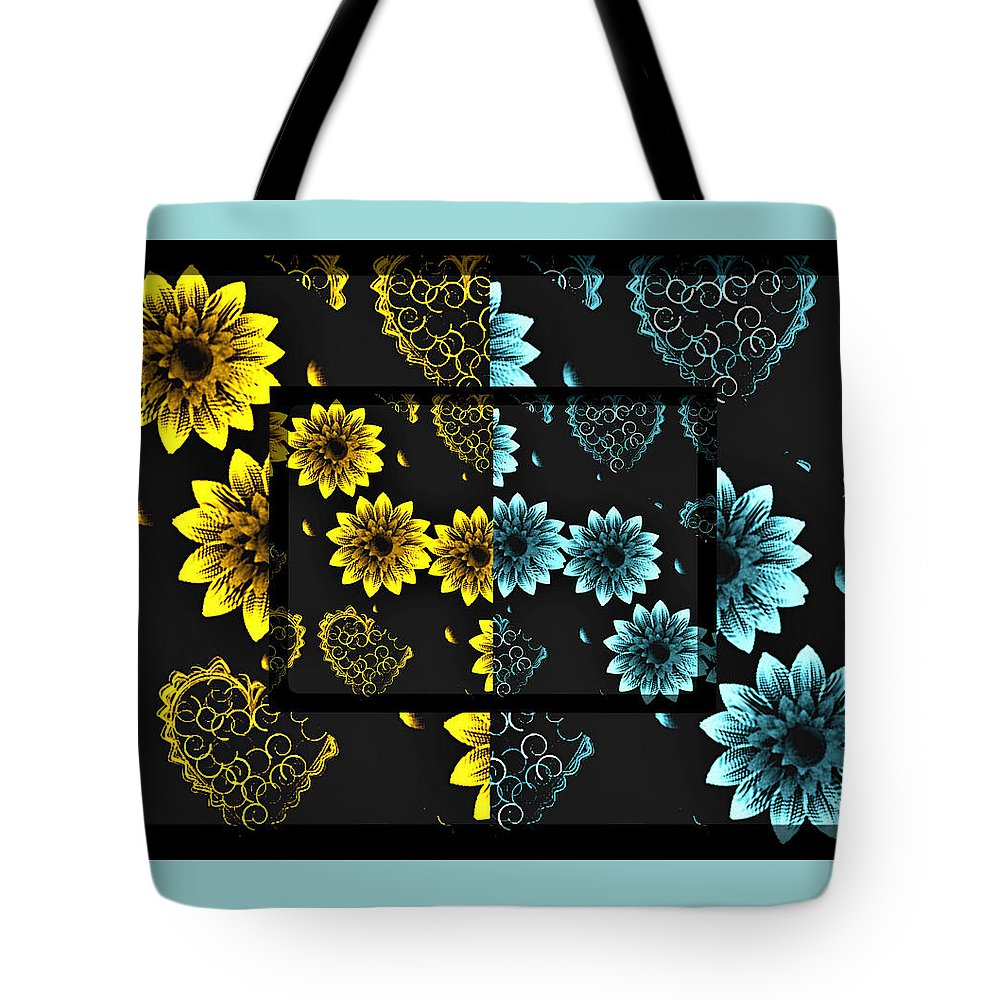 Floral; Flowers; Nature; Hearts; Garden; Yellow; Blue; Romance; Love; Valentine; Valentines Card; Valentines Day; Holiday Tote Bag featuring the digital art Grown With Love by Sherry Flaker