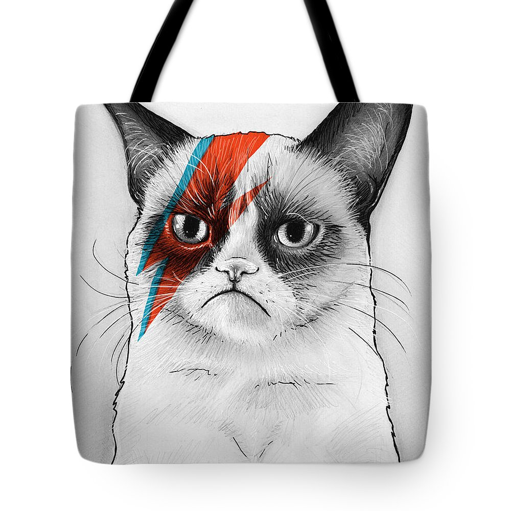 Grumpy Cat Tote Bag featuring the drawing Grumpy Cat As David Bowie by Olga Shvartsur