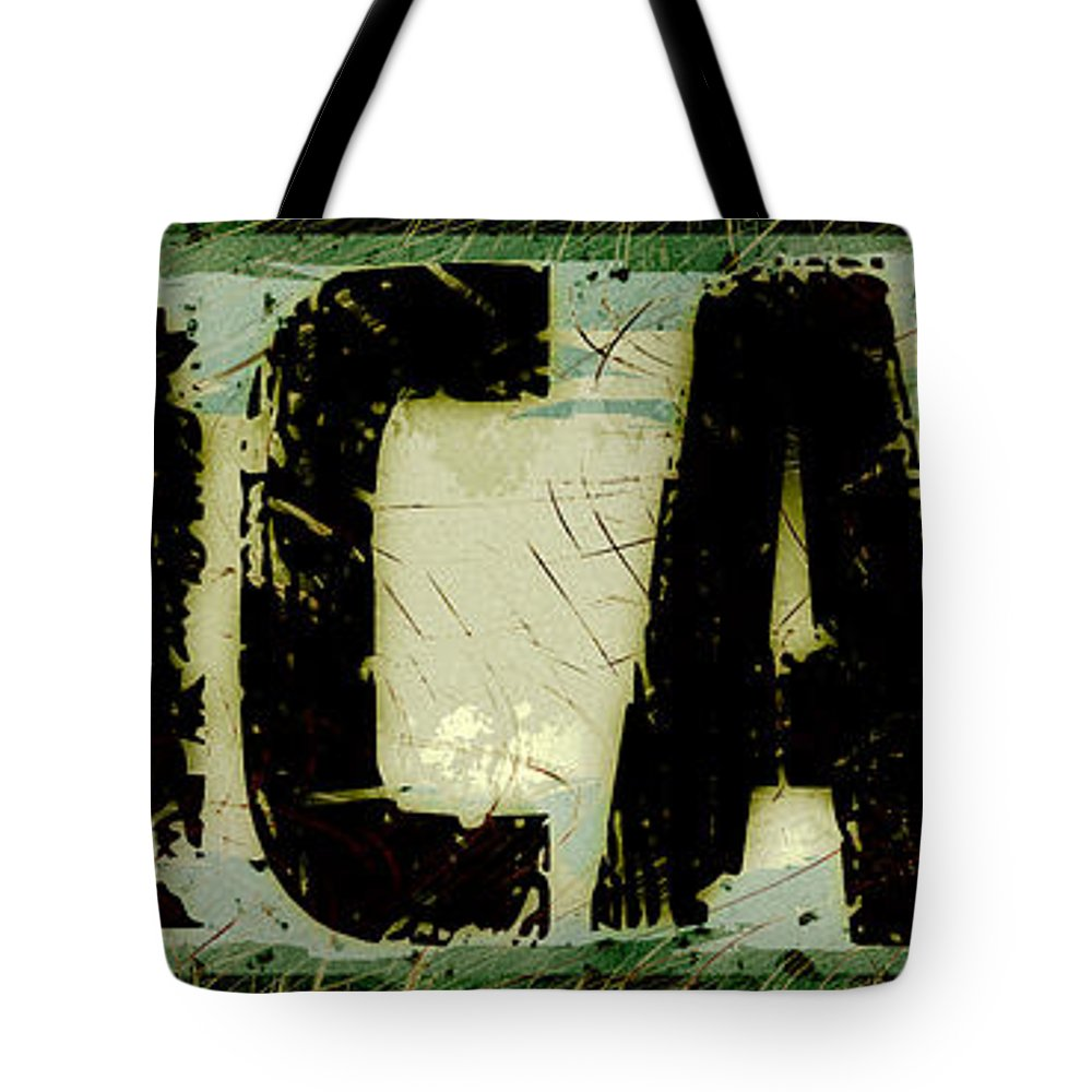 Chicago Tote Bag featuring the digital art Grunge Style Chicago Sign by David G Paul