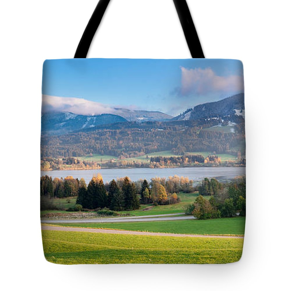 Photography Tote Bag featuring the photograph Gruntensee Lake In Autumn, Ostallgau by Panoramic Images