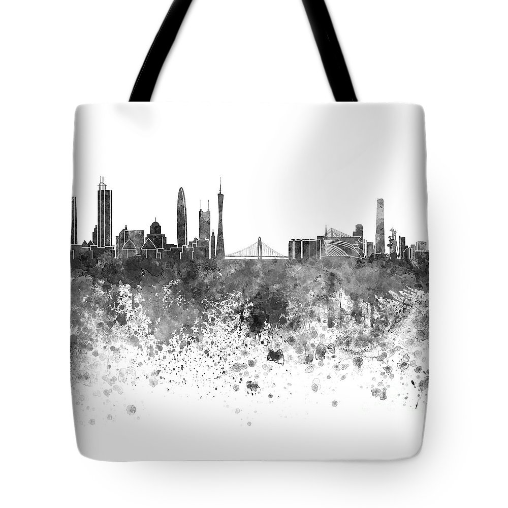 Guangzhou Skyline Tote Bag featuring the painting Guangzhou Skyline In Black Watercolor On White Background by Pablo Romero