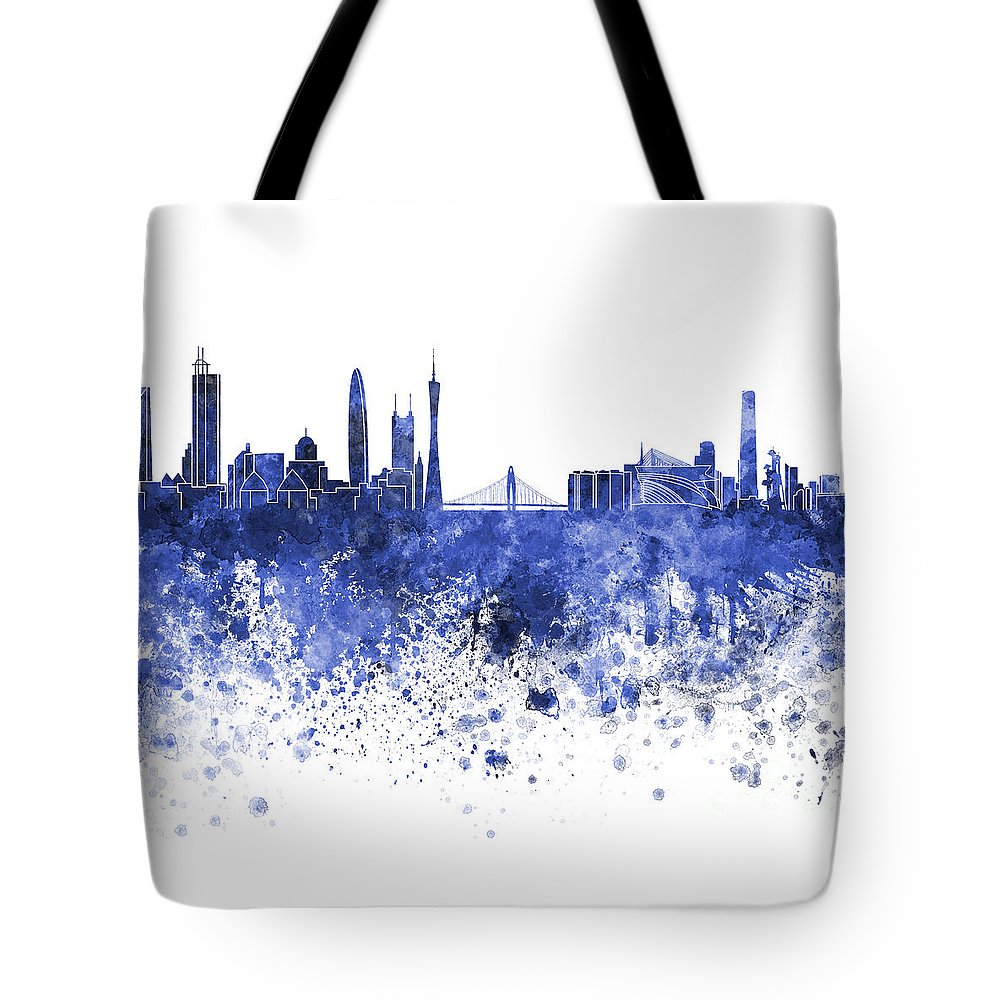 Guangzhou Skyline Tote Bag featuring the painting Guangzhou Skyline In Blue Watercolor On White Background by Pablo Romero