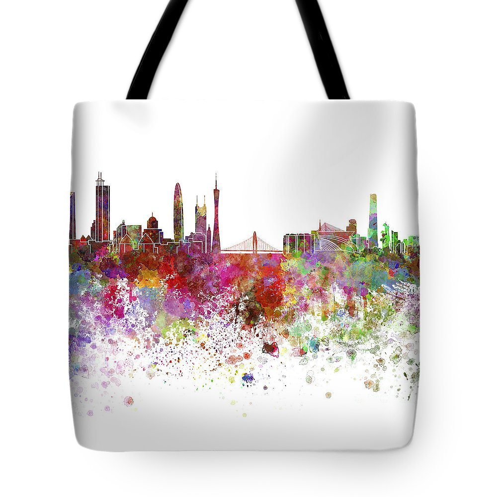 Guangzhou Skyline Tote Bag featuring the painting Guangzhou Skyline In Watercolor On White Background by Pablo Romero