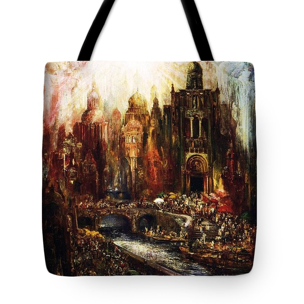 Pinckney Marcius-simons Tote Bag featuring the painting Guardian Angels by Celestial Images