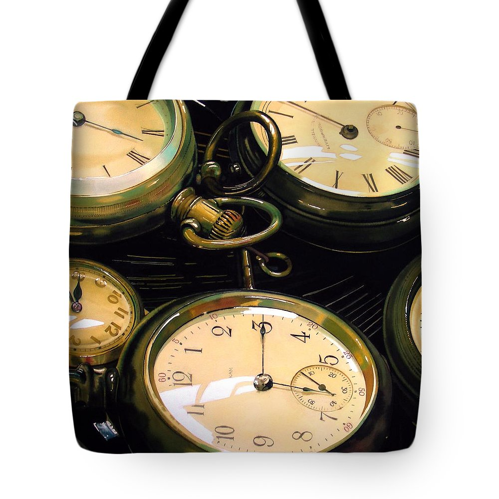 Clocks Tote Bag featuring the painting Guardians Of Time by Denny Bond