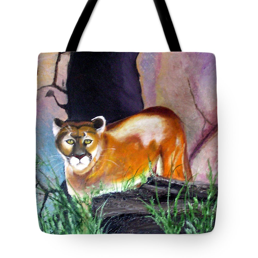 Big Cats Tote Bag featuring the painting Guarding The Cave by Lora Duguay