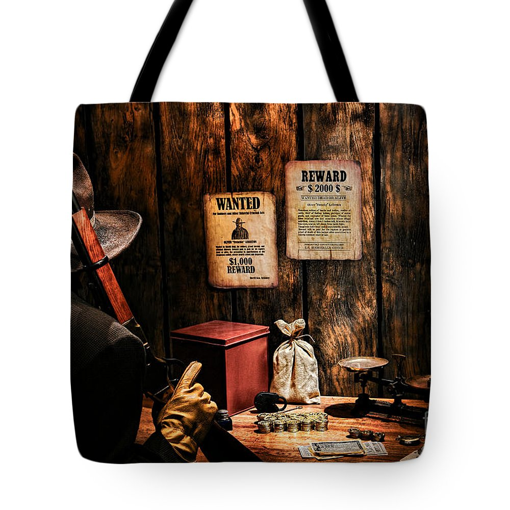 Western Tote Bag featuring the photograph Guarding The Payroll by Olivier Le Queinec