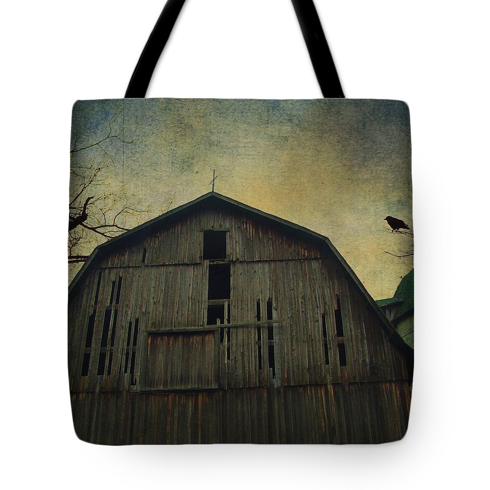Barn Photo Tote Bag featuring the photograph Silo Guard by Gothicrow Images