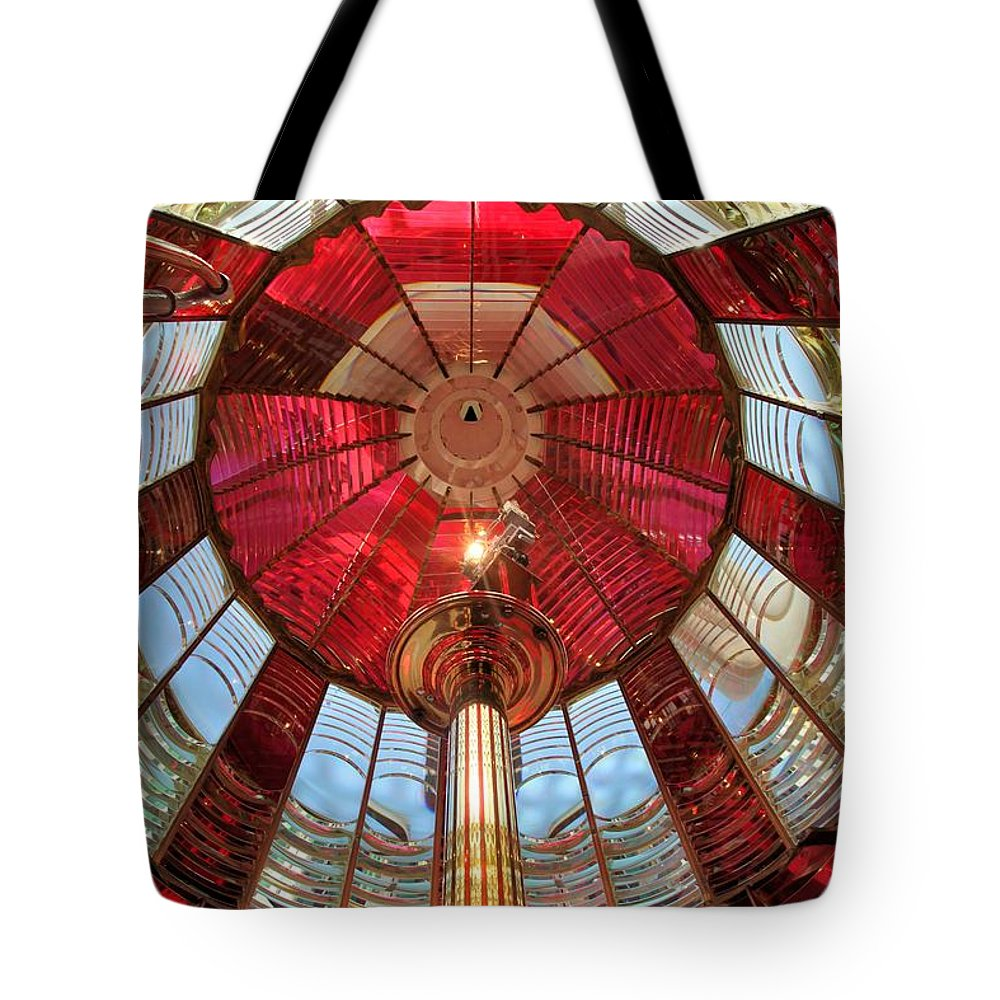 First Order Fresnel Lens Tote Bag featuring the photograph Guiding Red by Adam Jewell