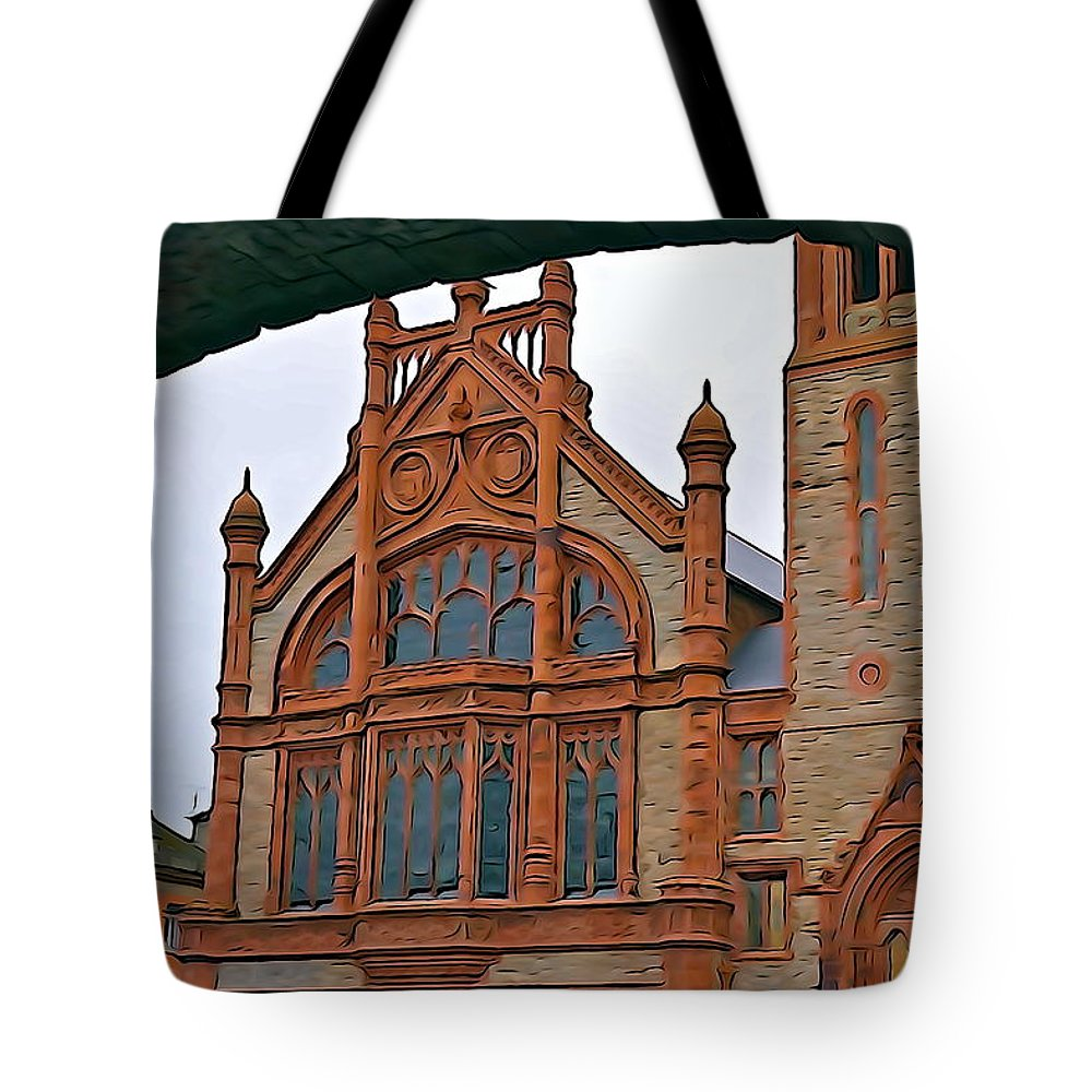 Guild Hall Tote Bag featuring the photograph Guildhall In Londonderry Northern Ireland by Charlie Brock
