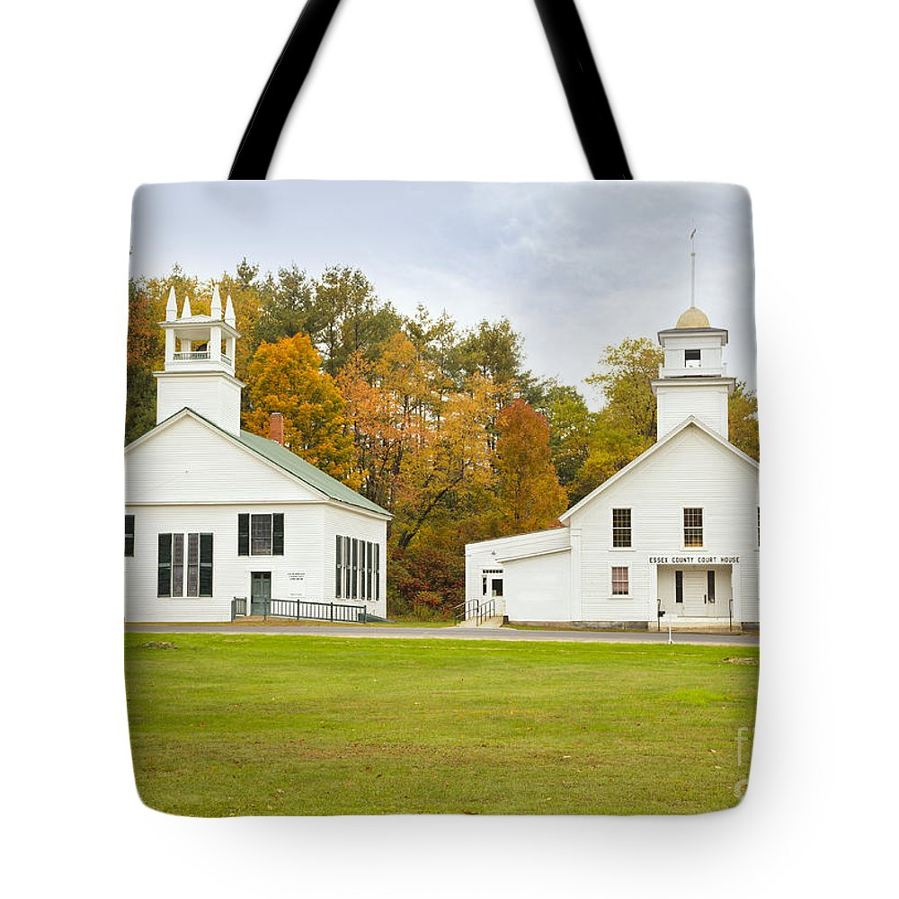 Guildhall Village Tote Bag featuring the photograph Guildhall Village Historic District In Autumn Vermont by Ken Brown
