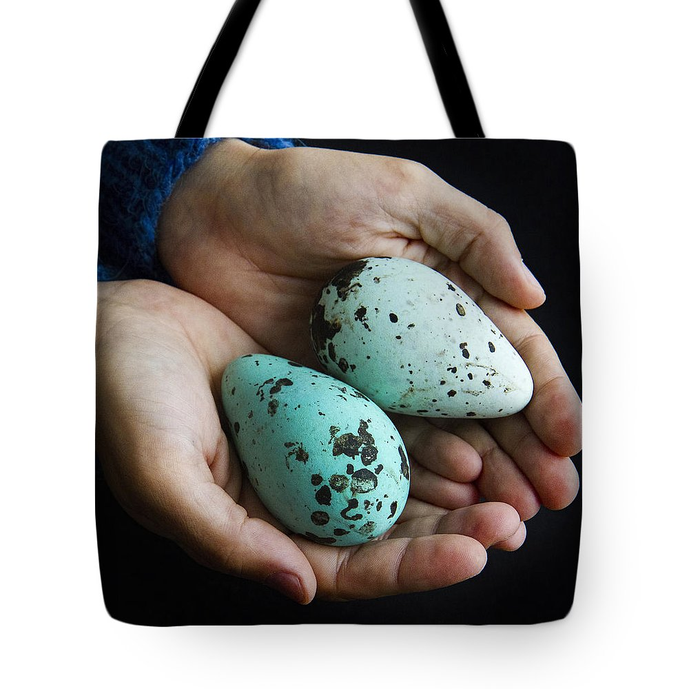 Eggs Tote Bag featuring the photograph Guillemot Egg by For Ninety One Days