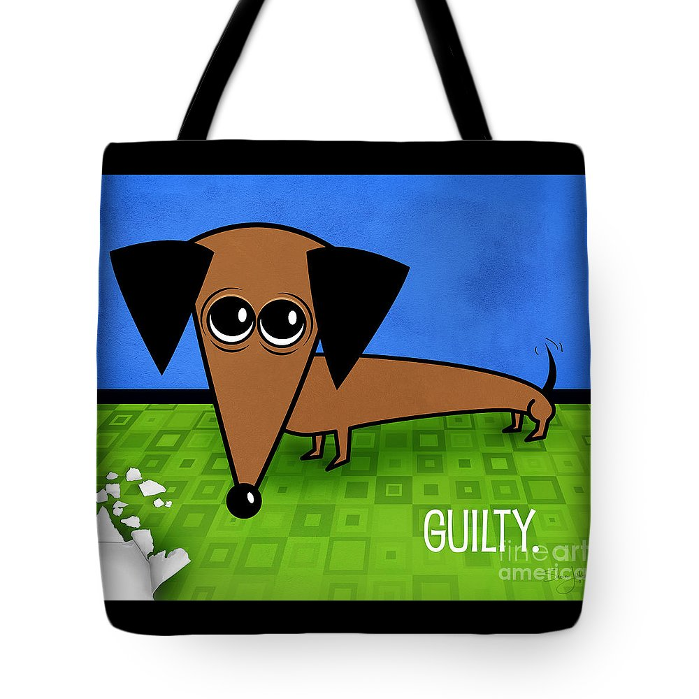 Dachshund Tote Bag featuring the mixed media Guilty by Shevon Johnson