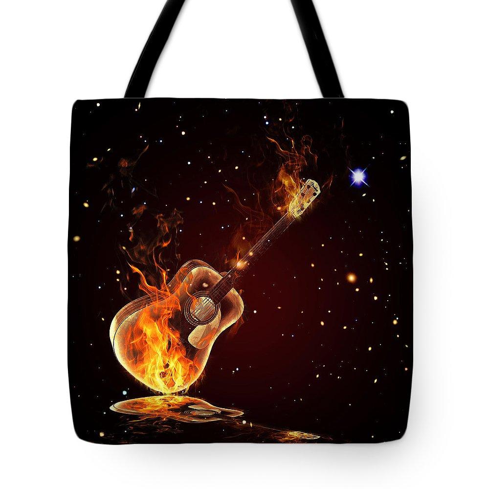 Cool Tote Bag featuring the digital art Guitar by Mark Ashkenazi