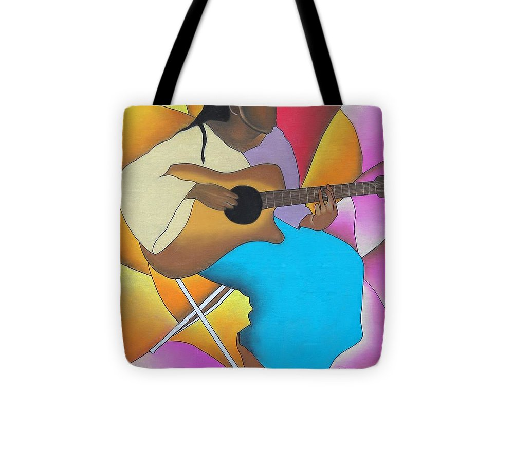 African American Art Tote Bag featuring the drawing Guitar Player by Sonya Walker