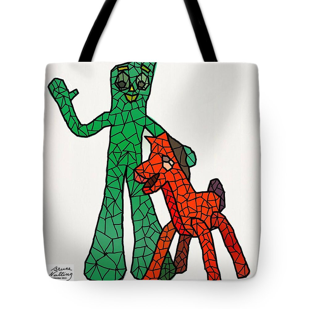Gumby Tote Bag featuring the painting Gumby And Pokey Not For Sale by Bruce Nutting