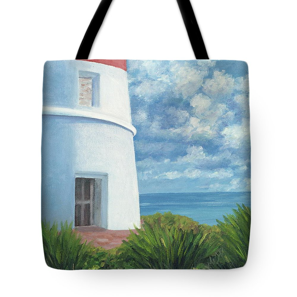 Seascape Tote Bag featuring the painting Gun Cay Lighthouse by Danielle Perry